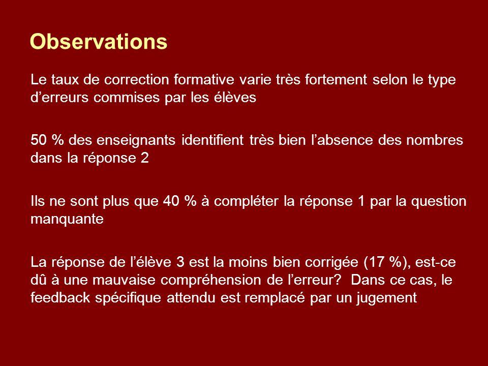 Observations Le taux de correction formative varie très fortement selon le type d'erreurs commises par les élèves 50 % des enseignants identifient trè