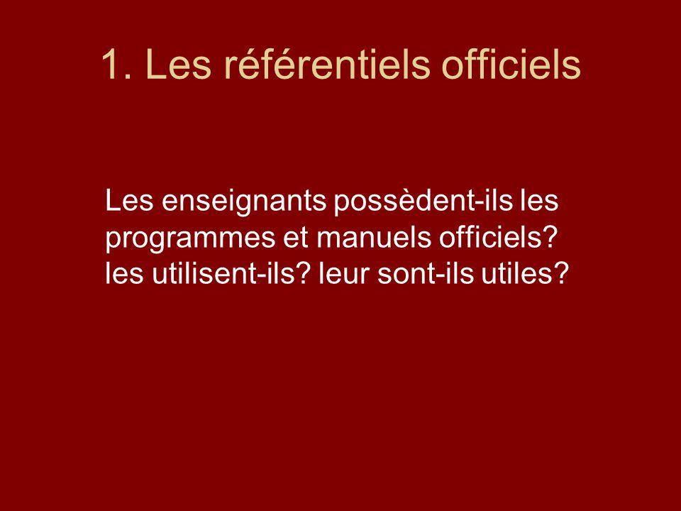 1. Les référentiels officiels Les enseignants possèdent-ils les programmes et manuels officiels? les utilisent-ils? leur sont-ils utiles?