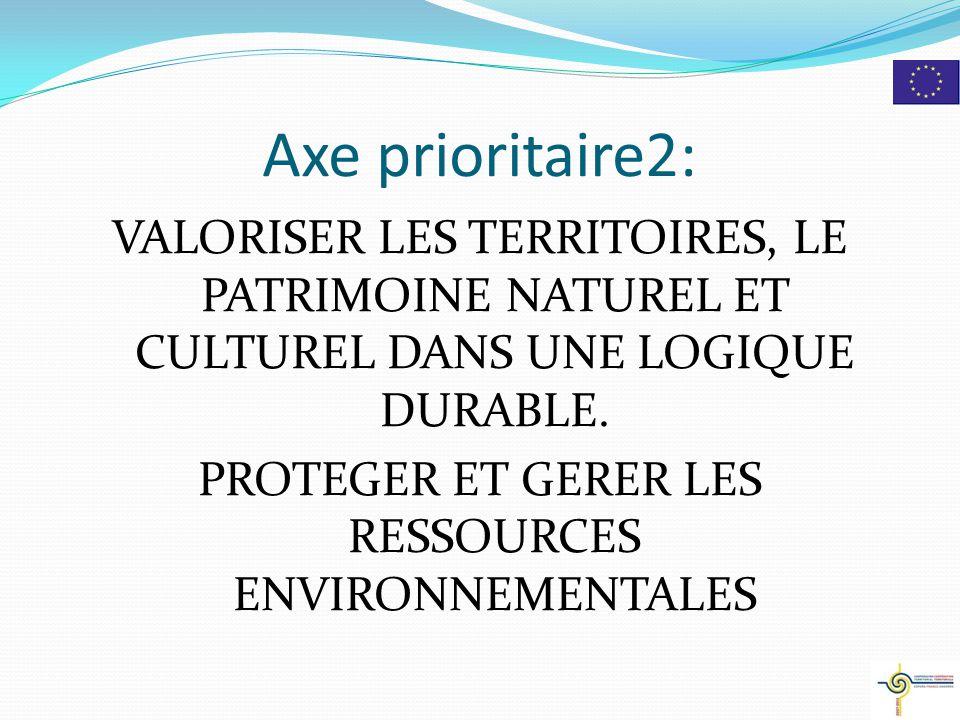 Axe prioritaire2: VALORISER LES TERRITOIRES, LE PATRIMOINE NATUREL ET CULTUREL DANS UNE LOGIQUE DURABLE.
