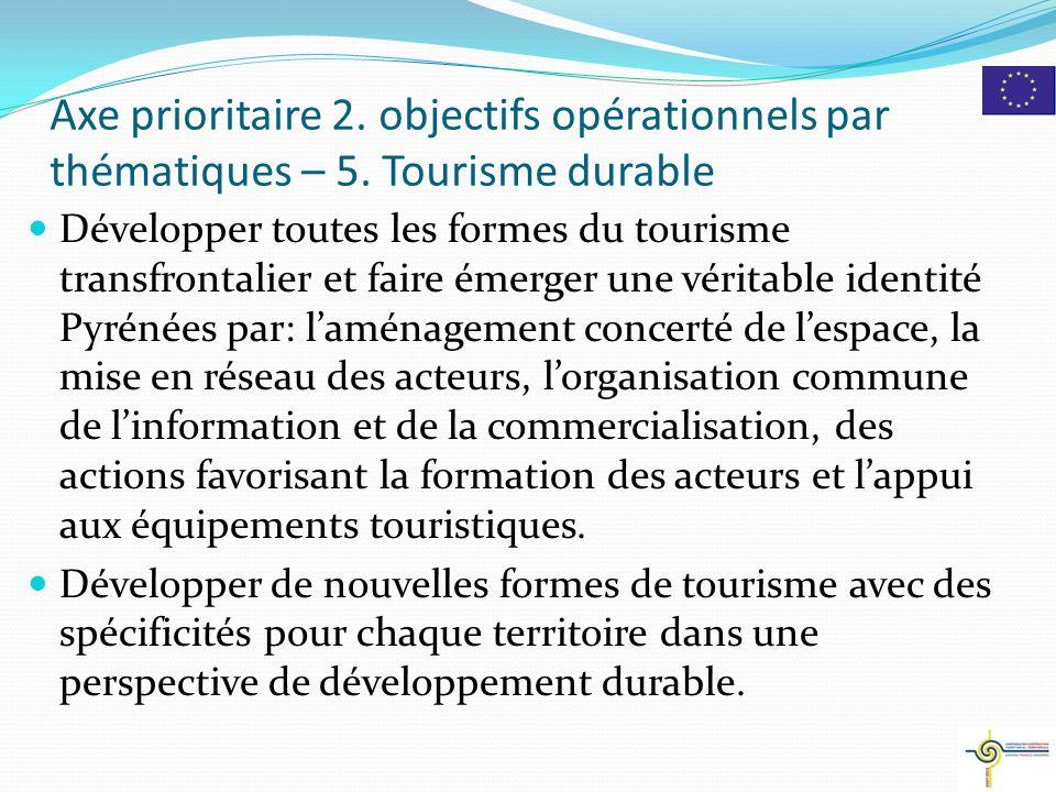 Développer toutes les formes du tourisme transfrontalier et faire émerger une véritable identité Pyrénées par: l'aménagement concerté de l'espace, la mise en réseau des acteurs, l'organisation commune de l'information et de la commercialisation, des actions favorisant la formation des acteurs et l'appui aux équipements touristiques.