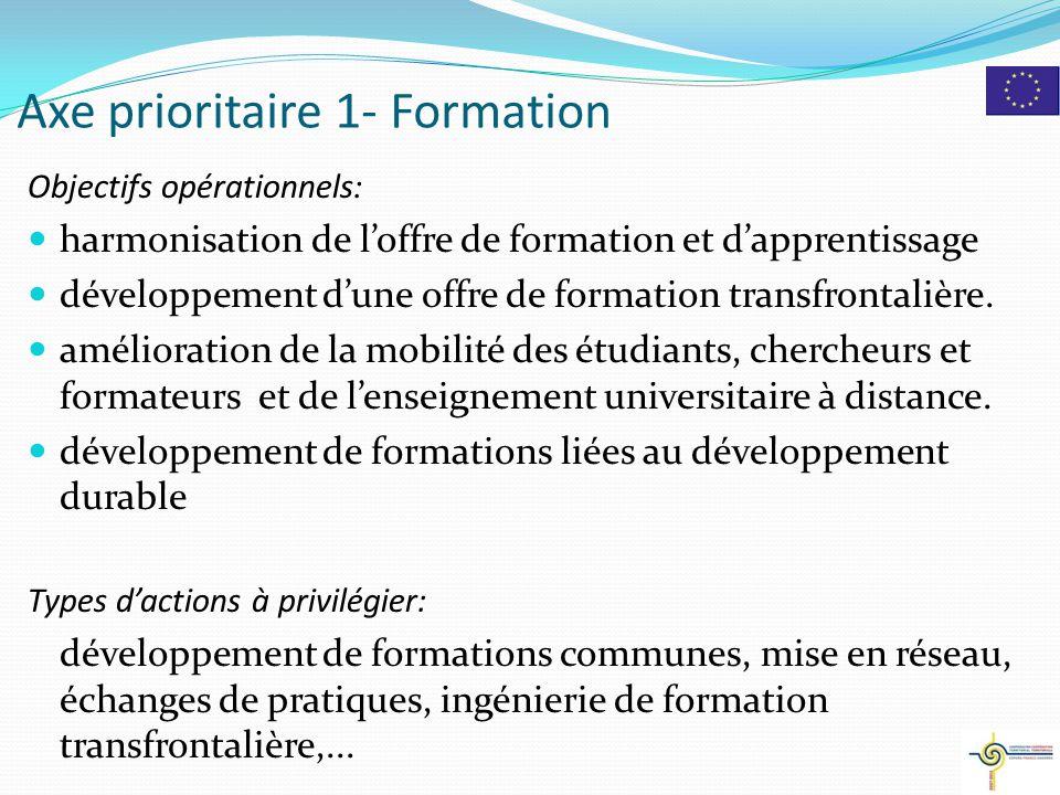 Axe prioritaire 1- Formation Objectifs opérationnels: harmonisation de l'offre de formation et d'apprentissage développement d'une offre de formation