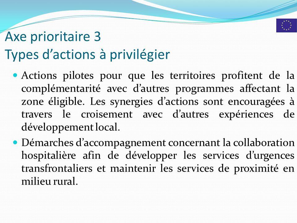 Axe prioritaire 3 Types d'actions à privilégier Actions pilotes pour que les territoires profitent de la complémentarité avec d'autres programmes affectant la zone éligible.
