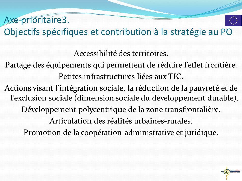 Axe prioritaire3. Objectifs spécifiques et contribution à la stratégie au PO Accessibilité des territoires. Partage des équipements qui permettent de