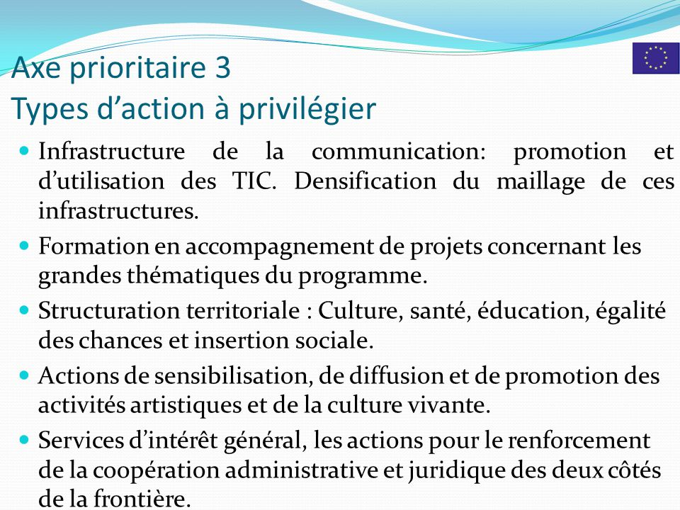 Axe prioritaire 3 Types d'action à privilégier Infrastructure de la communication: promotion et d'utilisation des TIC. Densification du maillage de ce