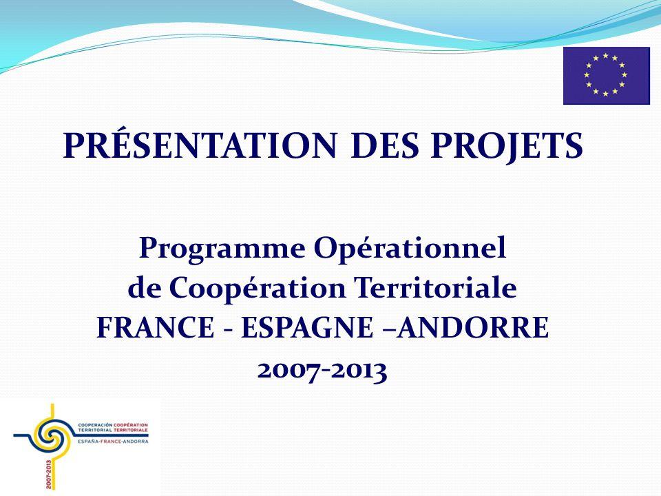 PRÉSENTATION DES PROJETS Programme Opérationnel de Coopération Territoriale FRANCE - ESPAGNE –ANDORRE 2007-2013