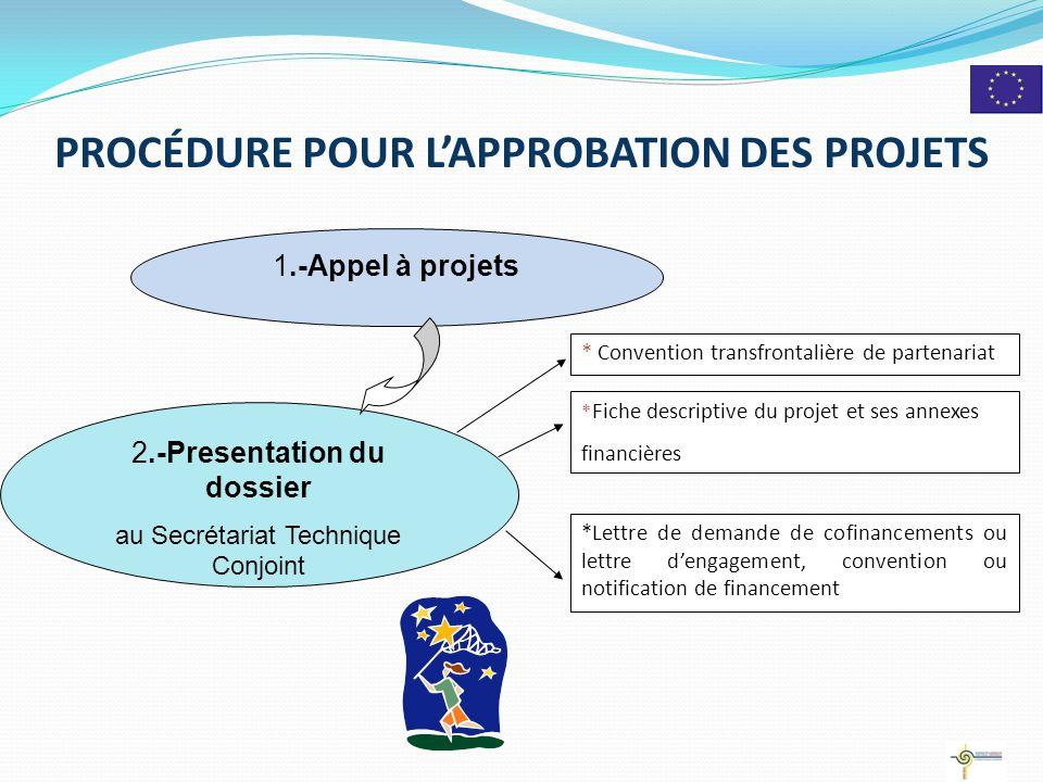 PROCÉDURE POUR L'APPROBATION DES PROJETS 2 2.-Presentation du dossier au Secrétariat Technique Conjoint * Convention transfrontalière de partenariat *