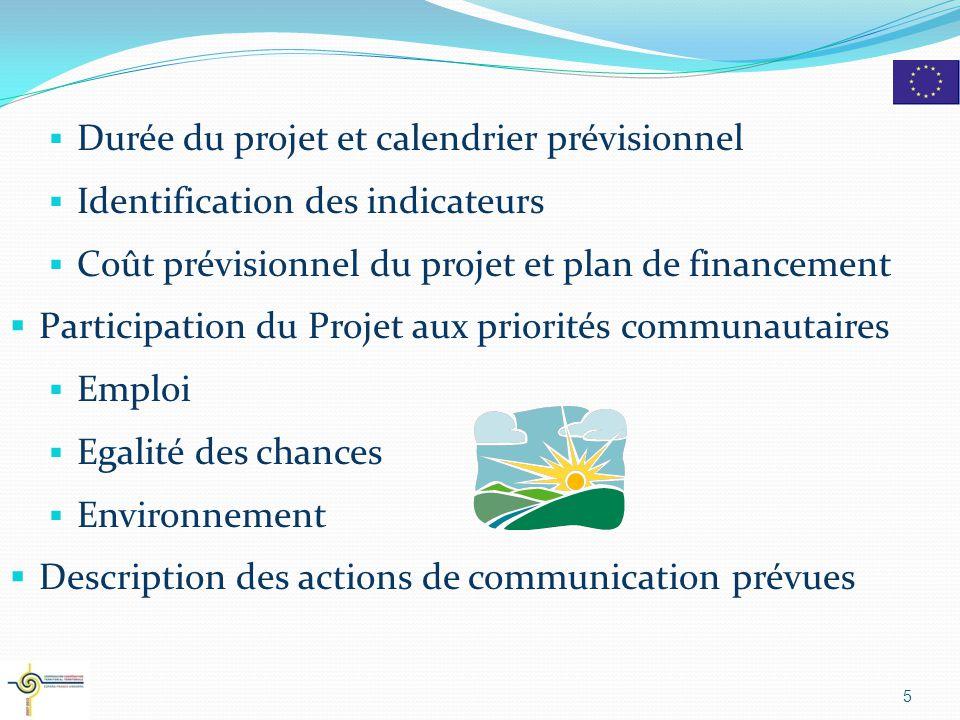  Durée du projet et calendrier prévisionnel  Identification des indicateurs  Coût prévisionnel du projet et plan de financement  Participation du