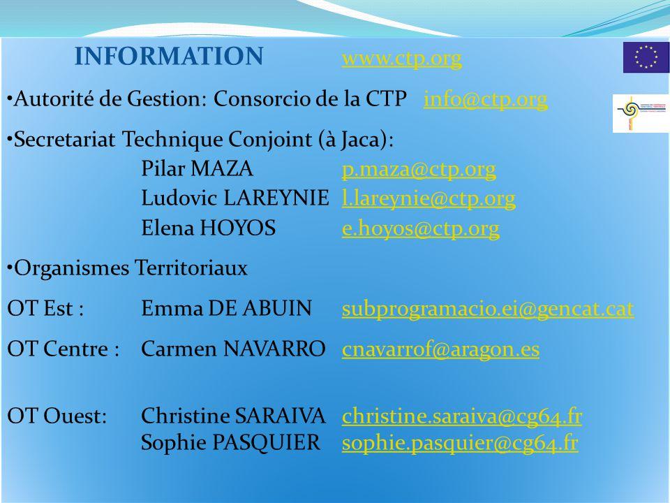 INFORMATION www.ctp.orgwww.ctp.org Autorité de Gestion: Consorcio de la CTP info@ctp.orginfo@ctp.org Secretariat Technique Conjoint (à Jaca): Pilar MA