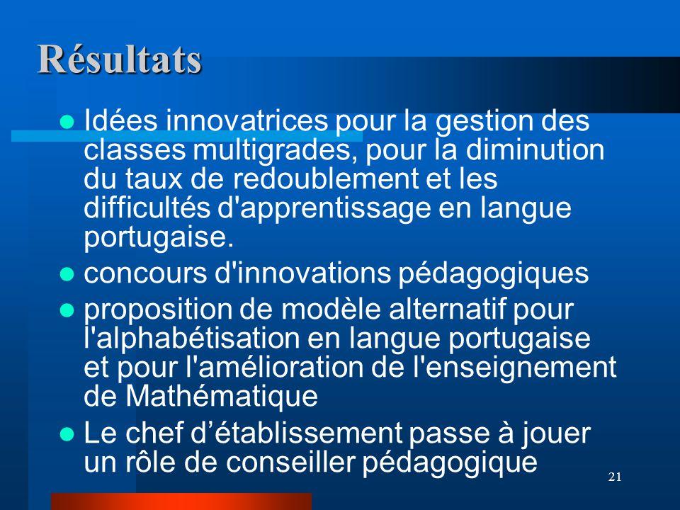 21 Résultats Idées innovatrices pour la gestion des classes multigrades, pour la diminution du taux de redoublement et les difficultés d apprentissage en langue portugaise.