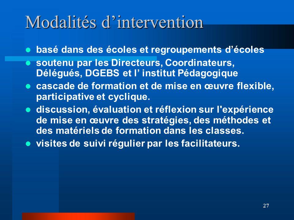 27 Modalités d'intervention basé dans des écoles et regroupements d'écoles soutenu par les Directeurs, Coordinateurs, Délégués, DGEBS et l' institut Pédagogique cascade de formation et de mise en œuvre flexible, participative et cyclique.