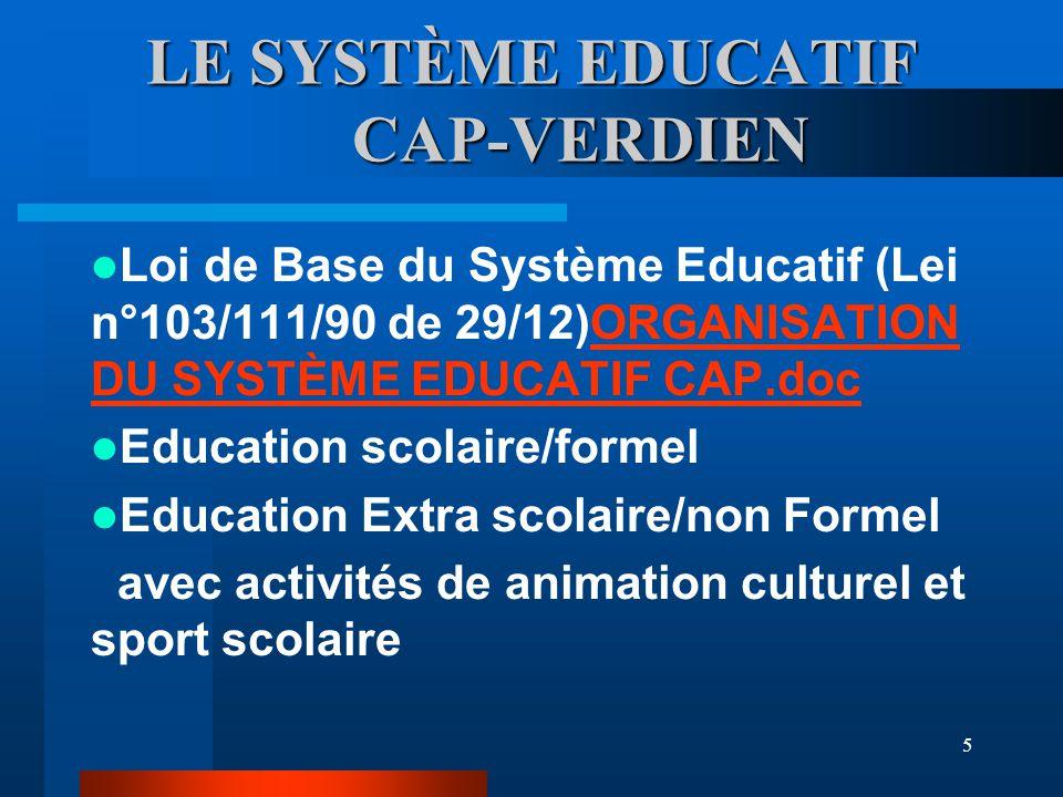 5 LE SYSTÈME EDUCATIF CAP-VERDIEN Loi de Base du Système Educatif (Lei n°103/111/90 de 29/12)ORGANISATION DU SYSTÈME EDUCATIF CAP.docORGANISATION DU SYSTÈME EDUCATIF CAP.doc Education scolaire/formel Education Extra scolaire/non Formel avec activités de animation culturel et sport scolaire