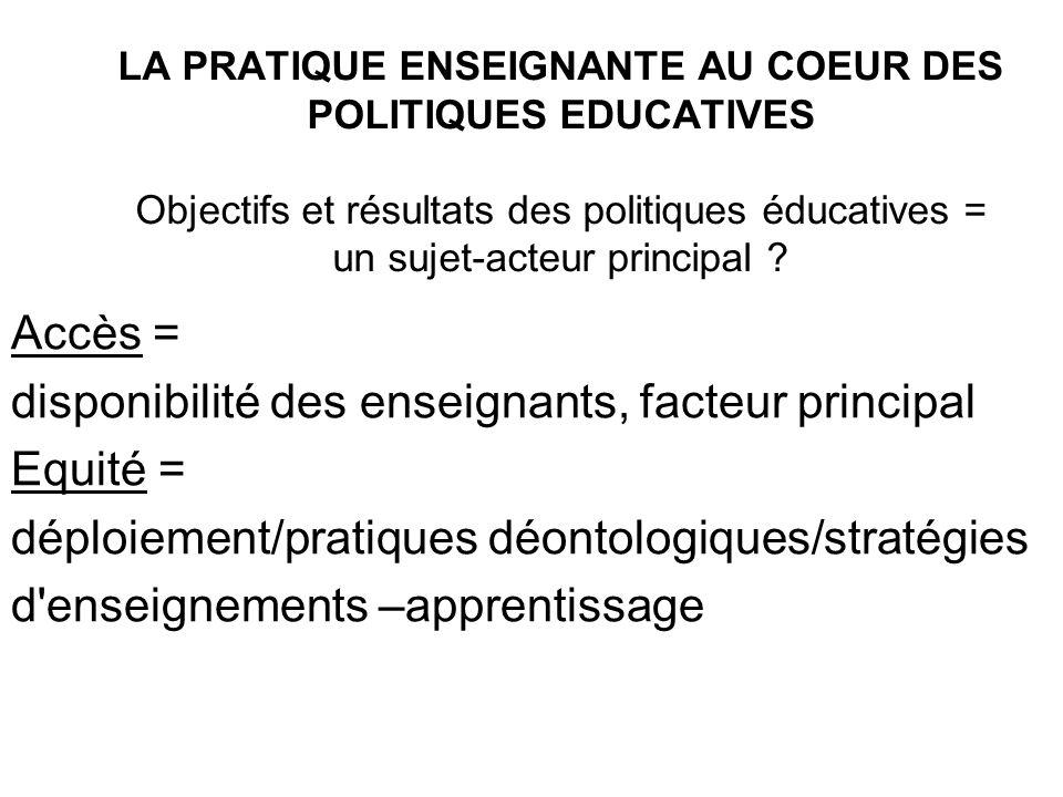 LA PRATIQUE ENSEIGNANTE AU COEUR DES POLITIQUES EDUCATIVES Objectifs et résultats des politiques éducatives = un sujet-acteur principal ? Accès = disp