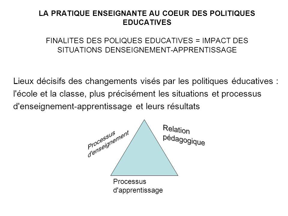 Lieux décisifs des changements visés par les politiques éducatives : l'école et la classe, plus précisément les situations et processus d'enseignement