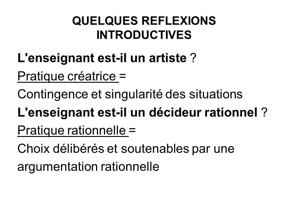 L'enseignant est-il un artiste ? Pratique créatrice = Contingence et singularité des situations L'enseignant est-il un décideur rationnel ? Pratique r