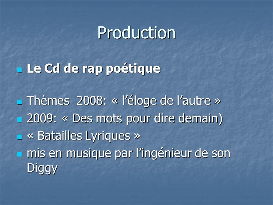 Production Le Cd de rap poétique Le Cd de rap poétique Thèmes 2008: « l'éloge de l'autre » Thèmes 2008: « l'éloge de l'autre » 2009: « Des mots pour dire demain) 2009: « Des mots pour dire demain) « Batailles Lyriques » « Batailles Lyriques » mis en musique par l'ingénieur de son Diggy mis en musique par l'ingénieur de son Diggy