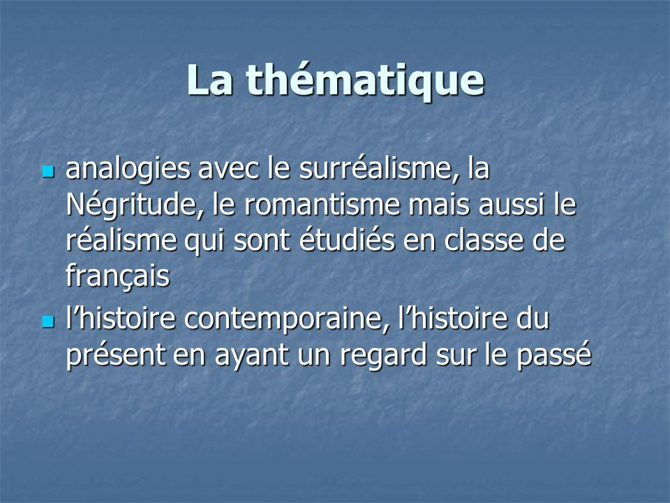 La thématique analogies avec le surréalisme, la Négritude, le romantisme mais aussi le réalisme qui sont étudiés en classe de français analogies avec le surréalisme, la Négritude, le romantisme mais aussi le réalisme qui sont étudiés en classe de français l'histoire contemporaine, l'histoire du présent en ayant un regard sur le passé l'histoire contemporaine, l'histoire du présent en ayant un regard sur le passé