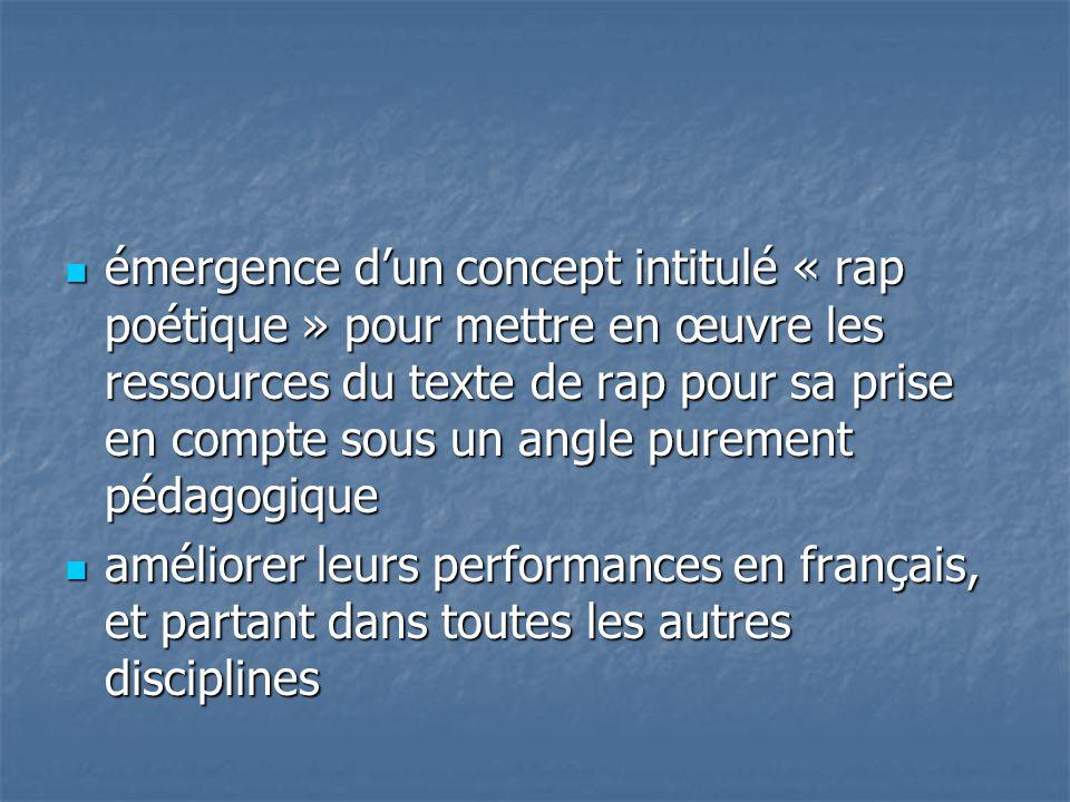émergence d'un concept intitulé « rap poétique » pour mettre en œuvre les ressources du texte de rap pour sa prise en compte sous un angle purement pédagogique émergence d'un concept intitulé « rap poétique » pour mettre en œuvre les ressources du texte de rap pour sa prise en compte sous un angle purement pédagogique améliorer leurs performances en français, et partant dans toutes les autres disciplines améliorer leurs performances en français, et partant dans toutes les autres disciplines