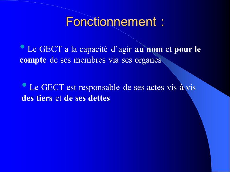 Fonctionnement : Le GECT a la capacité d'agir au nom et pour le compte de ses membres via ses organes Le GECT est responsable de ses actes vis à vis d