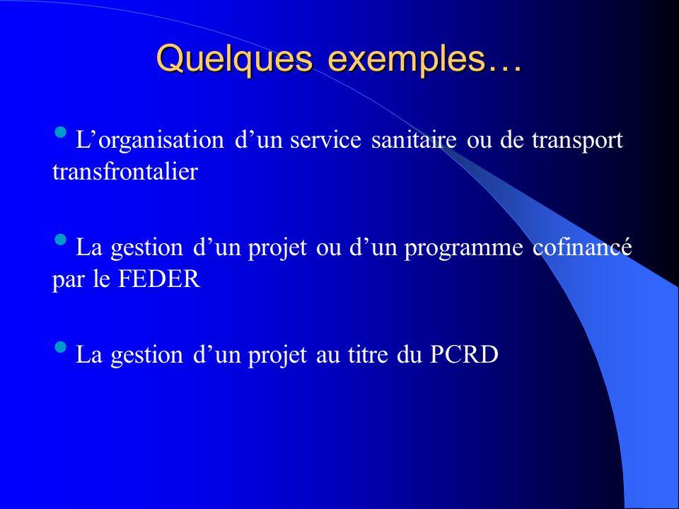 Quelques exemples… L'organisation d'un service sanitaire ou de transport transfrontalier La gestion d'un projet ou d'un programme cofinancé par le FED