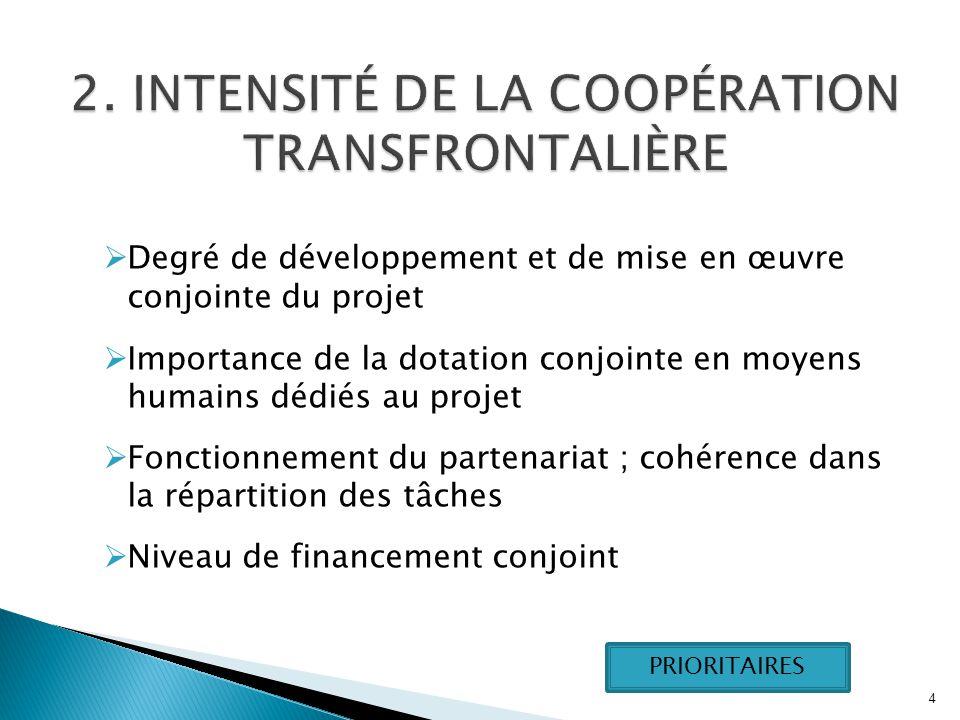  Degré de développement et de mise en œuvre conjointe du projet  Importance de la dotation conjointe en moyens humains dédiés au projet  Fonctionnement du partenariat ; cohérence dans la répartition des tâches  Niveau de financement conjoint 4 PRIORITAIRES