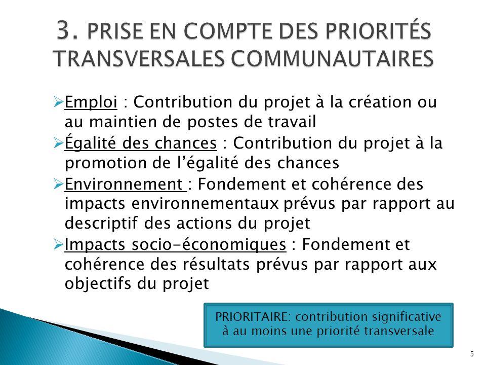  Emploi : Contribution du projet à la création ou au maintien de postes de travail  Égalité des chances : Contribution du projet à la promotion de l