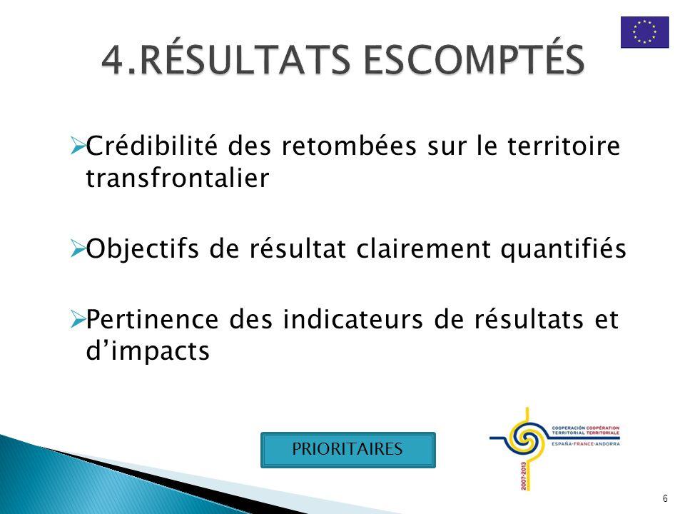  Crédibilité des retombées sur le territoire transfrontalier  Objectifs de résultat clairement quantifiés  Pertinence des indicateurs de résultats et d'impacts 6 PRIORITAIRES