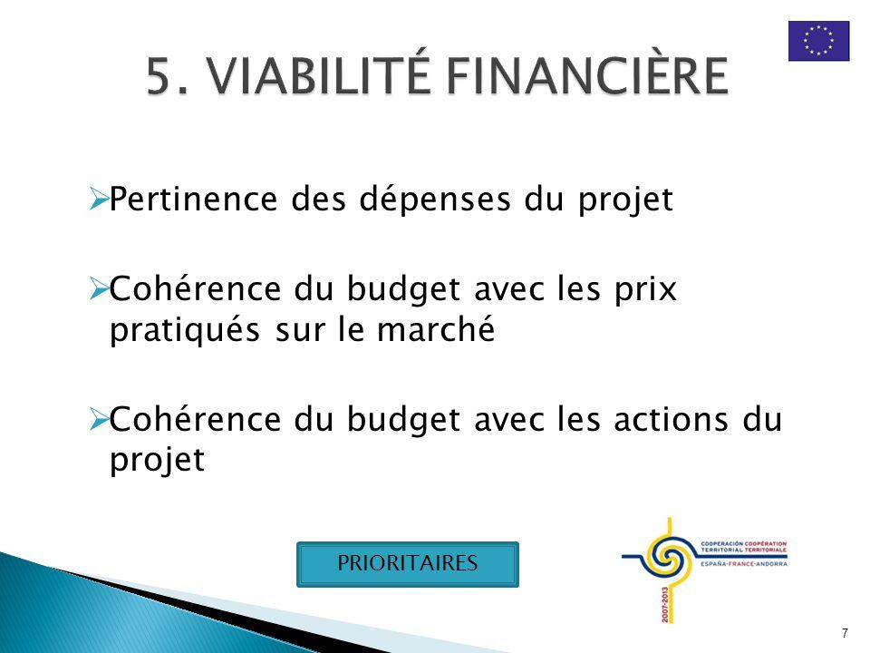  Pertinence des dépenses du projet  Cohérence du budget avec les prix pratiqués sur le marché  Cohérence du budget avec les actions du projet 7 PRIORITAIRES