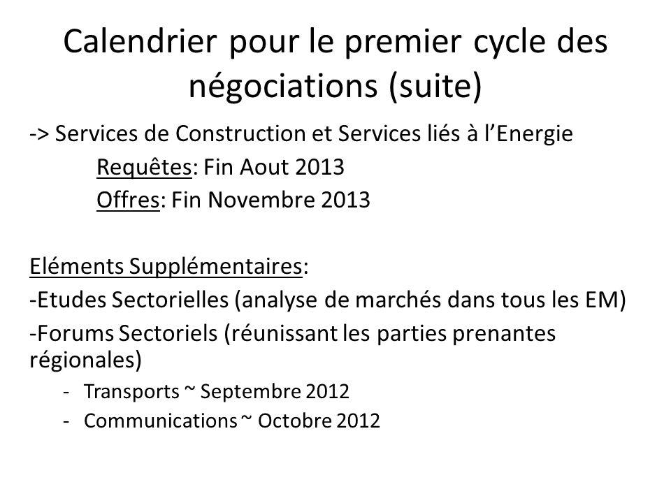 Calendrier pour le premier cycle des négociations (suite) -> Services de Construction et Services liés à l'Energie Requêtes: Fin Aout 2013 Offres: Fin