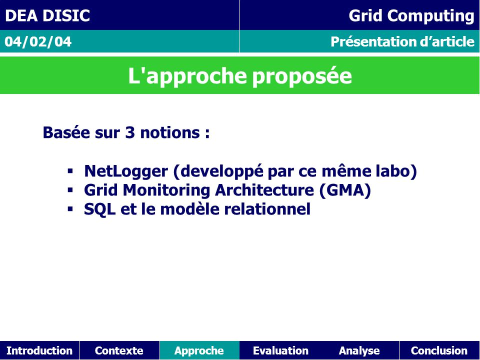 IntroductionContexteAnalyseConclusionApproche Présentation d'article 04/02/04 DEA DISIC Grid Computing L approche proposée Basée sur 3 notions :  NetLogger (developpé par ce même labo)  Grid Monitoring Architecture (GMA)  SQL et le modèle relationnel Evaluation