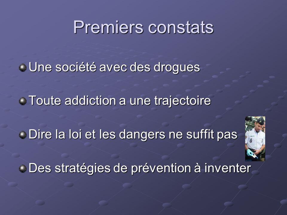 Premiers constats Une société avec des drogues Toute addiction a une trajectoire Dire la loi et les dangers ne suffit pas Des stratégies de prévention