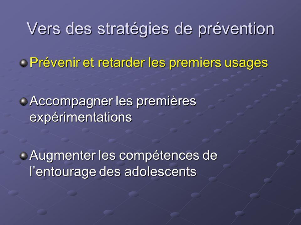 Vers des stratégies de prévention Prévenir et retarder les premiers usages Accompagner les premières expérimentations Augmenter les compétences de l'e