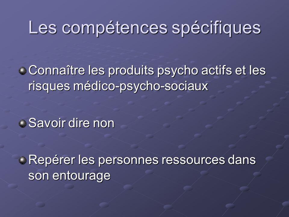 Les compétences spécifiques Connaître les produits psycho actifs et les risques médico-psycho-sociaux Savoir dire non Repérer les personnes ressources