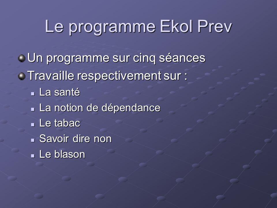 Le programme Ekol Prev Un programme sur cinq séances Travaille respectivement sur : La santé La santé La notion de dépendance La notion de dépendance