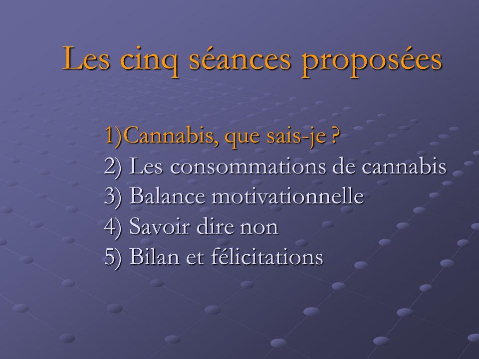 Les cinq séances proposées 1)Cannabis, que sais-je ? 2) Les consommations de cannabis 3) Balance motivationnelle 4) Savoir dire non 5) Bilan et félici