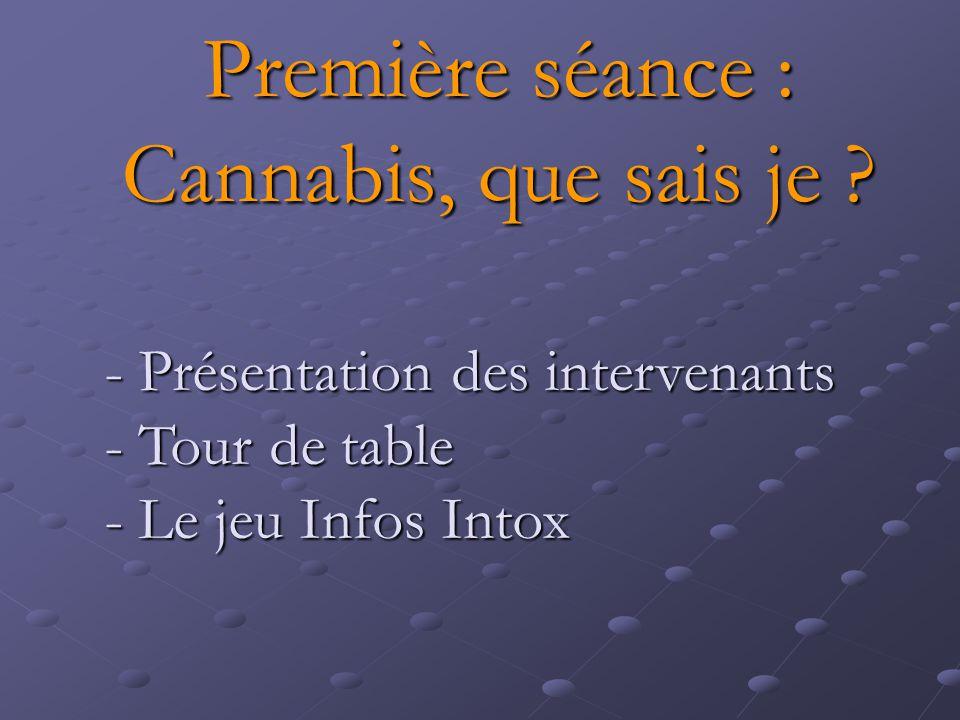 Première séance : Cannabis, que sais je ? - Présentation des intervenants - Tour de table - Le jeu Infos Intox