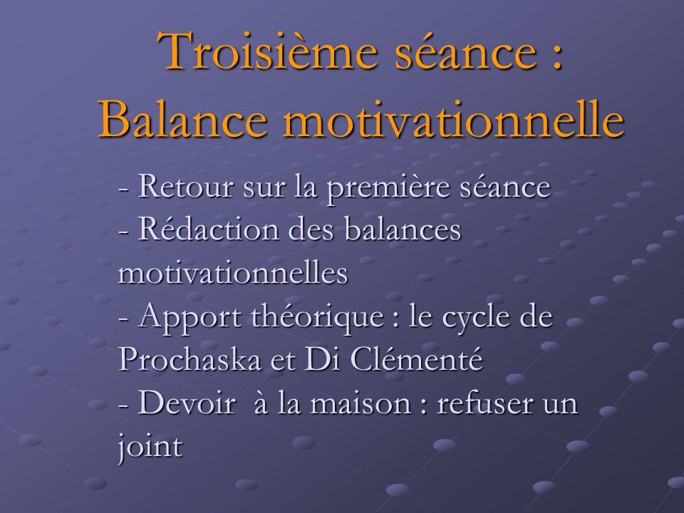 Troisième séance : Balance motivationnelle - Retour sur la première séance - Rédaction des balances motivationnelles - Apport théorique : le cycle de