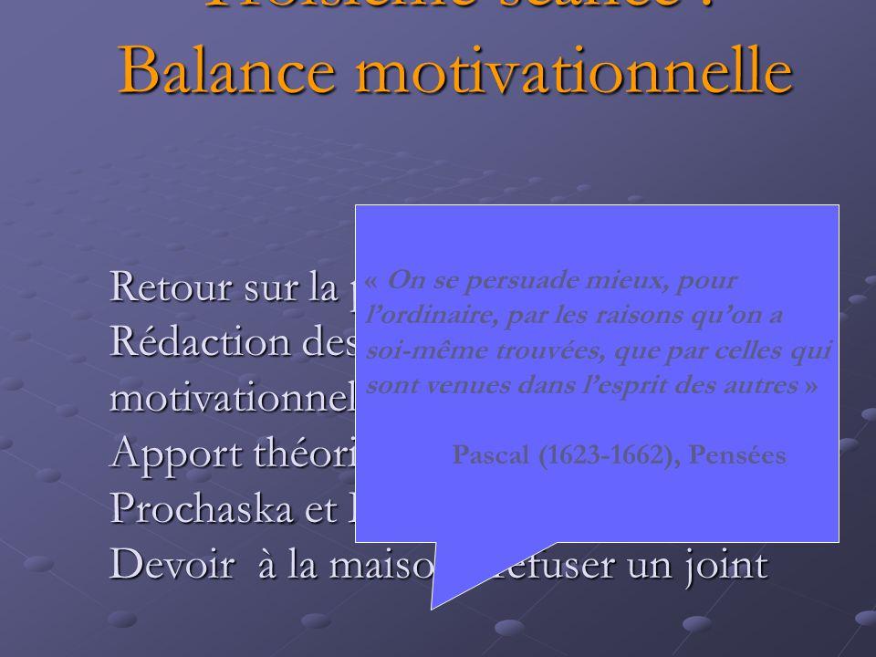 Troisième séance : Balance motivationnelle Retour sur la première séance Rédaction des balances motivationnelles Apport théorique : le cycle de Procha
