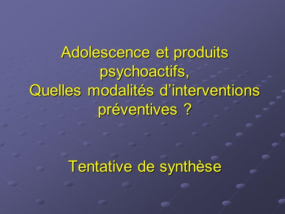 Adolescence et produits psychoactifs, Quelles modalités d'interventions préventives ? Tentative de synthèse