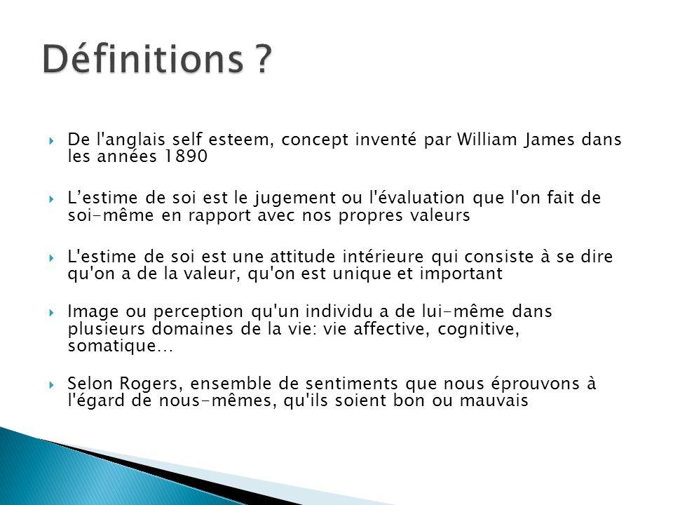  De l'anglais self esteem, concept inventé par William James dans les années 1890  L'estime de soi est le jugement ou l'évaluation que l'on fait de