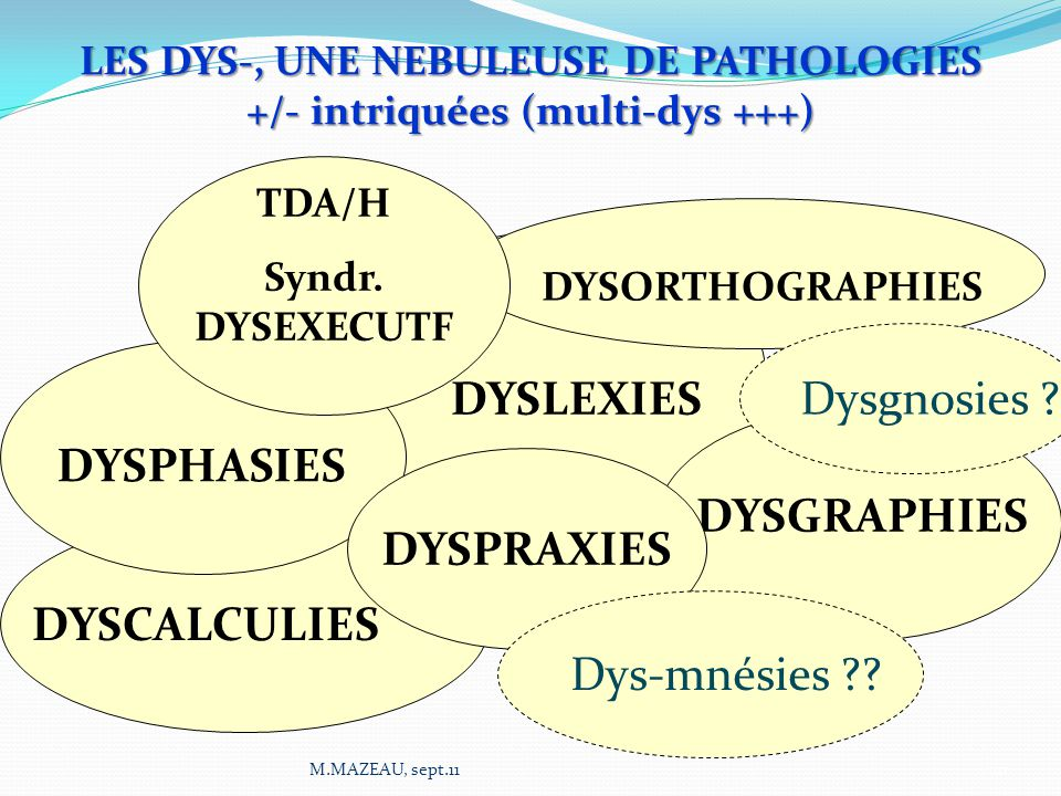 DYSLEXIES DYSPHASIES DYSCALCULIES DYSGRAPHIES DYSORTHOGRAPHIES TDA/H Syndr. DYSEXECUTF DYSPRAXIES LES DYS-, UNE NEBULEUSE DE PATHOLOGIES +/- intriquée