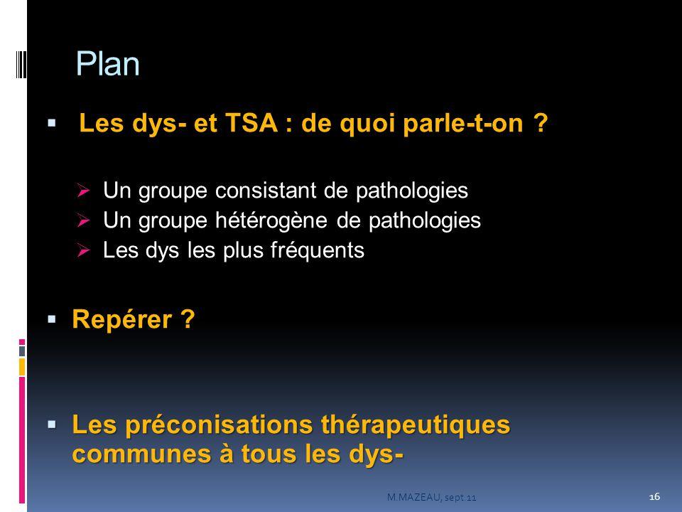 Plan  Les dys- et TSA : de quoi parle-t-on ?  Un groupe consistant de pathologies  Un groupe hétérogène de pathologies  Les dys les plus fréquents