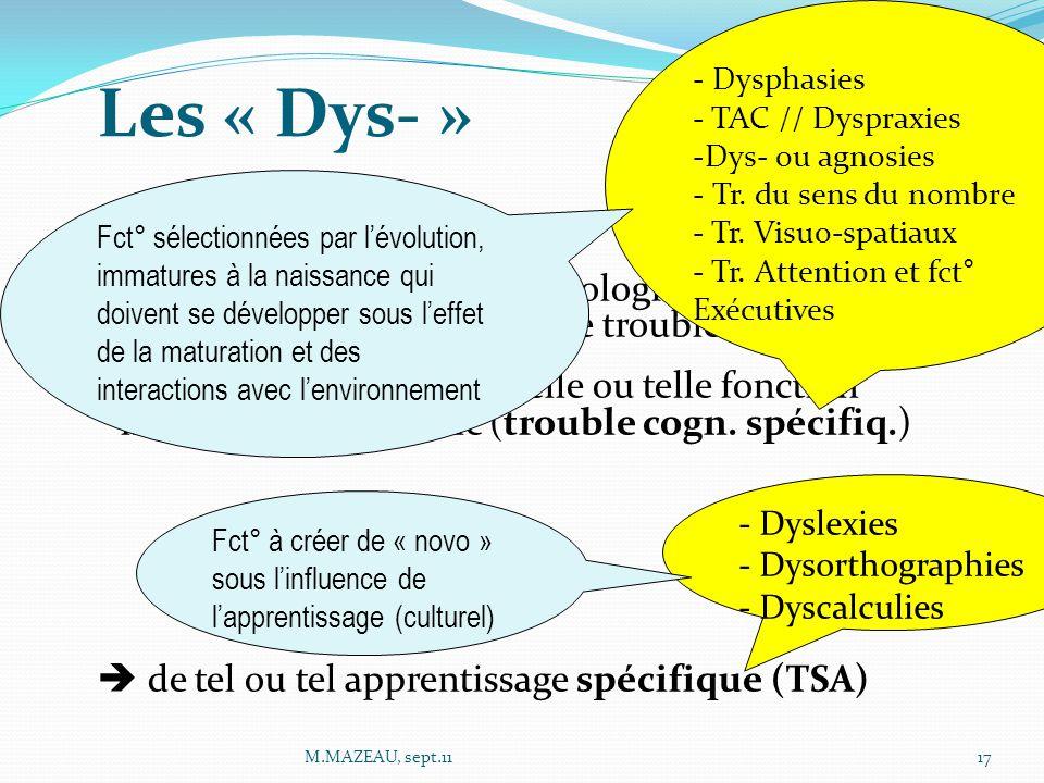 Les « Dys- » Ces termes désignent des pathologies cognitives électives. Il s'agit toujours de troubles SPECIFIQUES  du développement de telle ou tell