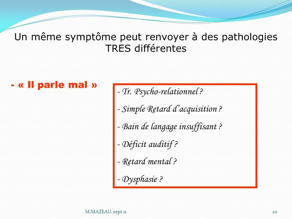 Un même symptôme peut renvoyer à des pathologies TRES différentes - « Il parle mal » - Tr. Psycho-relationnel ? - Simple Retard d'acquisition ? - Bain