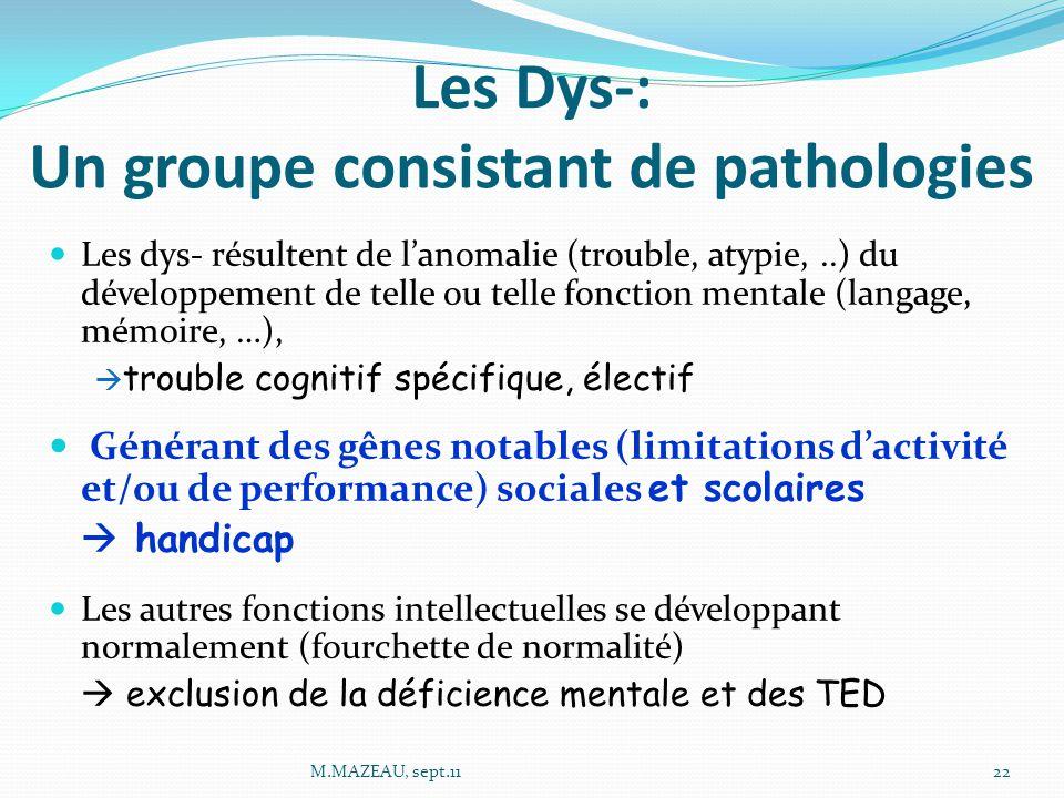Les Dys-: Un groupe consistant de pathologies Les dys- résultent de l'anomalie (trouble, atypie,..) du développement de telle ou telle fonction mentale (langage, mémoire, …),  trouble cognitif spécifique, électif Générant des gênes notables (limitations d'activité et/ou de performance) sociales et scolaires  handicap Les autres fonctions intellectuelles se développant normalement (fourchette de normalité)  exclusion de la déficience mentale et des TED 22M.MAZEAU, sept.11