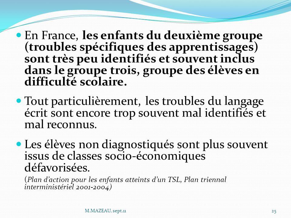 En France, les enfants du deuxième groupe (troubles spécifiques des apprentissages) sont très peu identifiés et souvent inclus dans le groupe trois, groupe des élèves en difficulté scolaire.