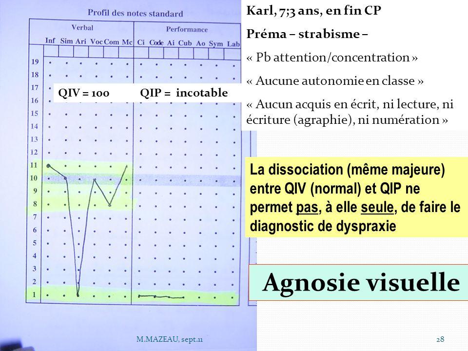QIV = 100 QIP = incotable Karl, 7;3 ans, en fin CP Préma – strabisme – « Pb attention/concentration » « Aucune autonomie en classe » « Aucun acquis en écrit, ni lecture, ni écriture (agraphie), ni numération » Agnosie visuelle La dissociation (même majeure) entre QIV (normal) et QIP ne permet pas, à elle seule, de faire le diagnostic de dyspraxie 28M.MAZEAU, sept.11