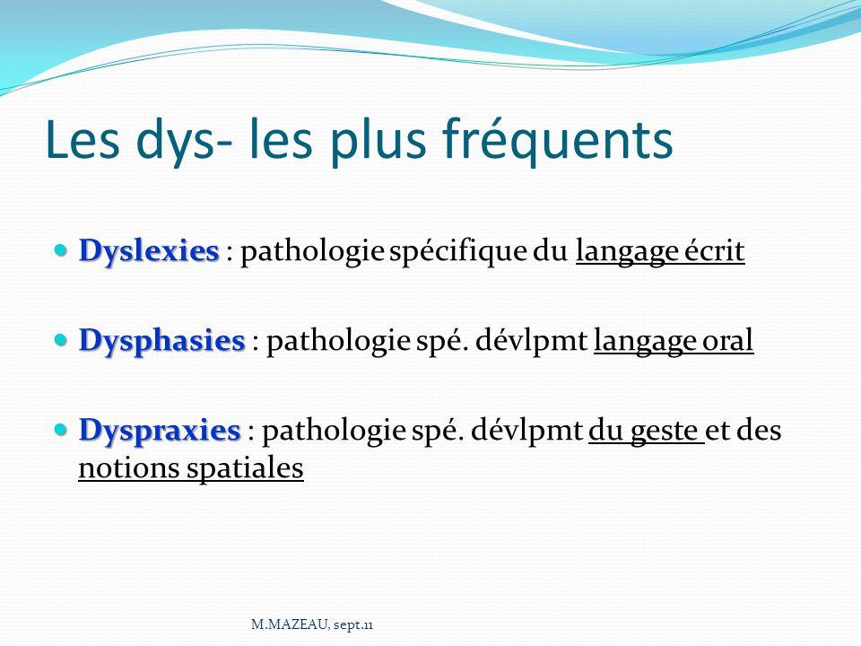 Les dys- les plus fréquents Dyslexies Dyslexies : pathologie spécifique du langage écrit Dysphasies Dysphasies : pathologie spé. dévlpmt langage oral