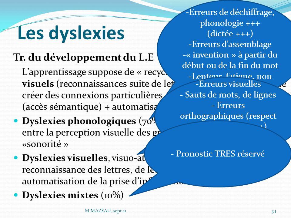 Les dyslexies Tr. du développement du L.E L'apprentissage suppose de « recycler » certains réseaux visuels (reconnaissances suite de lettres, orthogra