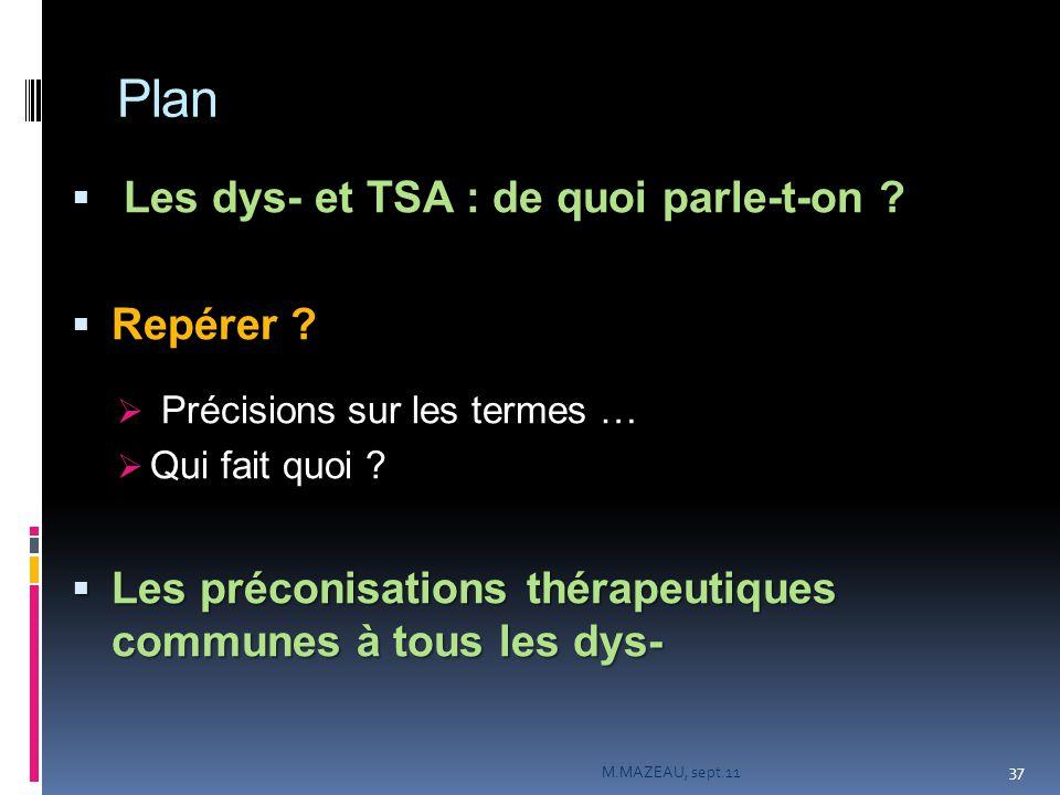 Plan  Les dys- et TSA : de quoi parle-t-on ?  Repérer ?  Précisions sur les termes …  Qui fait quoi ?  Les préconisations thérapeutiques communes