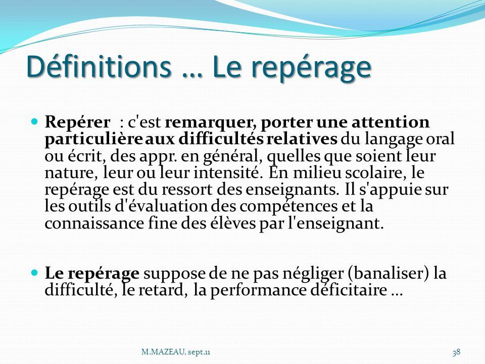 Définitions … Le repérage Repérer : c'est remarquer, porter une attention particulière aux difficultés relatives du langage oral ou écrit, des appr. e